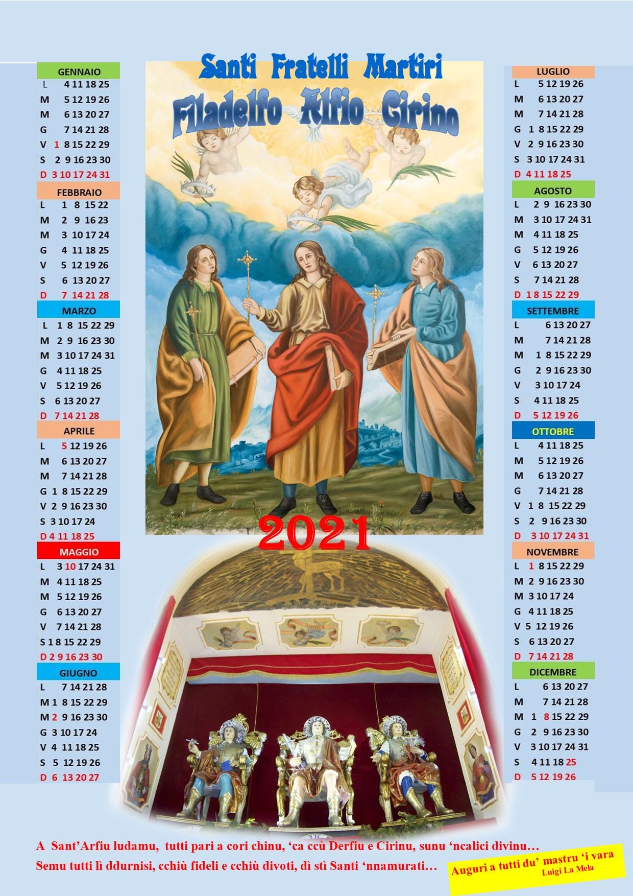 Chiesa Sant'Alfio Adrano Calendario 2021
