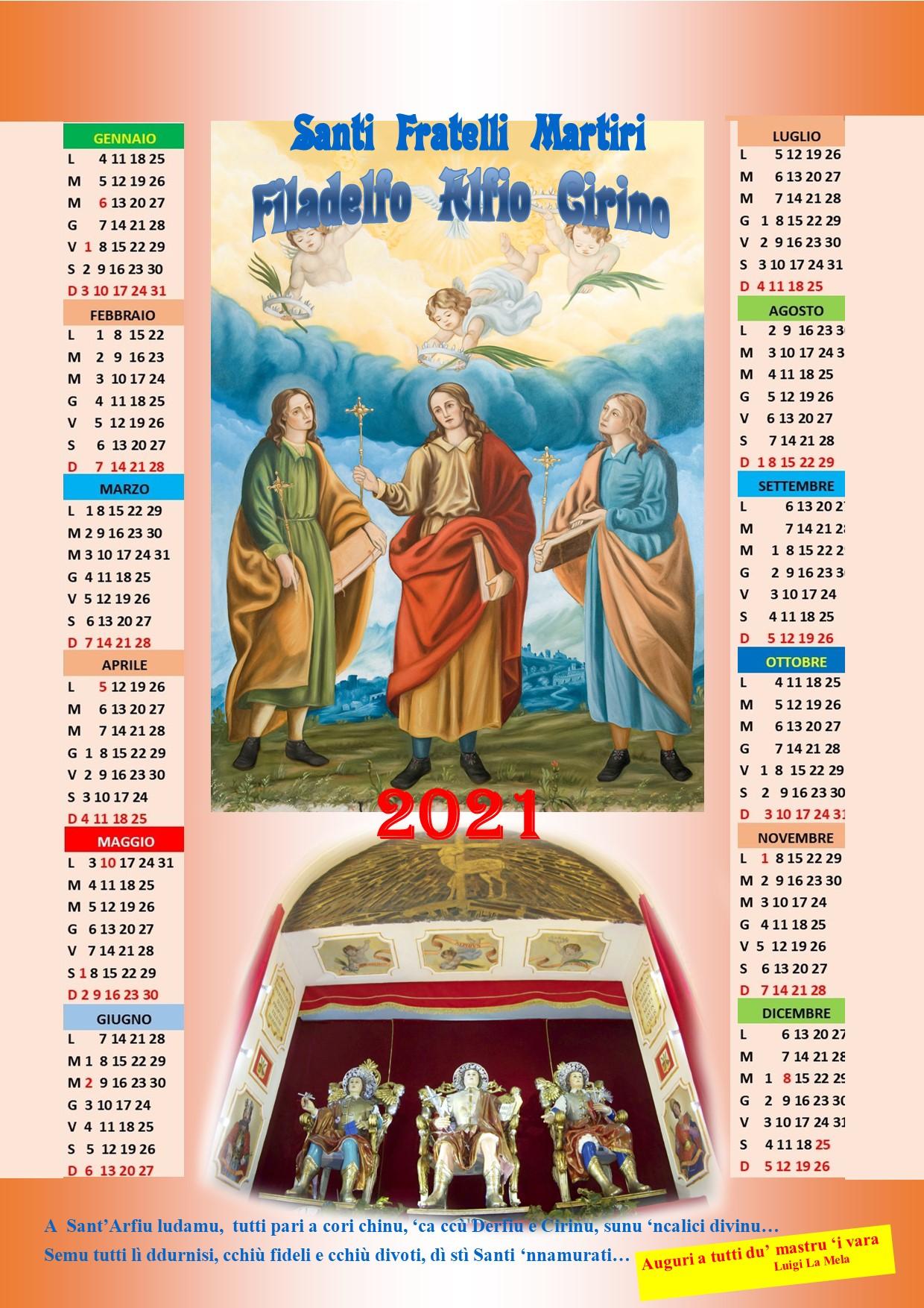 Chiesa Sant'Alfio Adrano Calendario 2021R