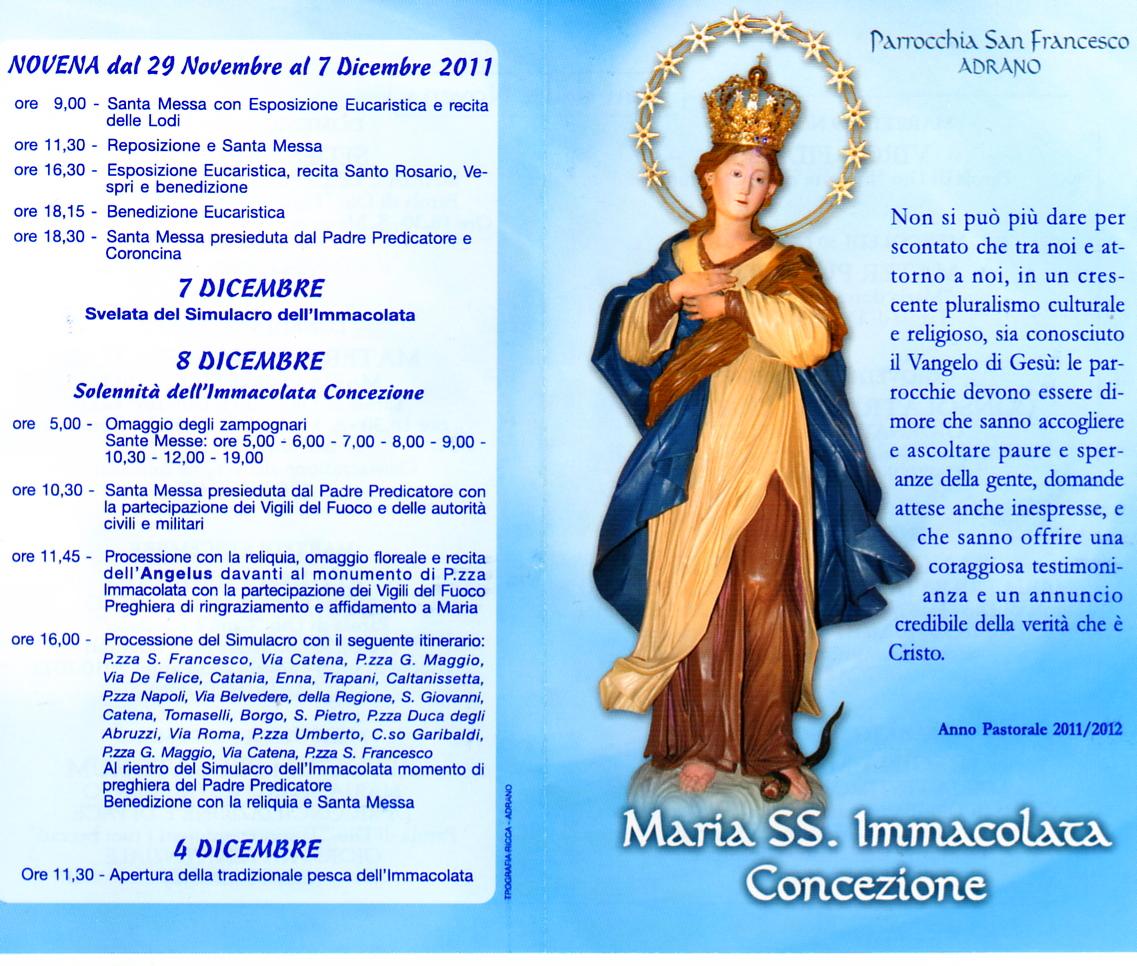 Maria SS. Immacolata Concezione - Adrano - Programma festa 2011