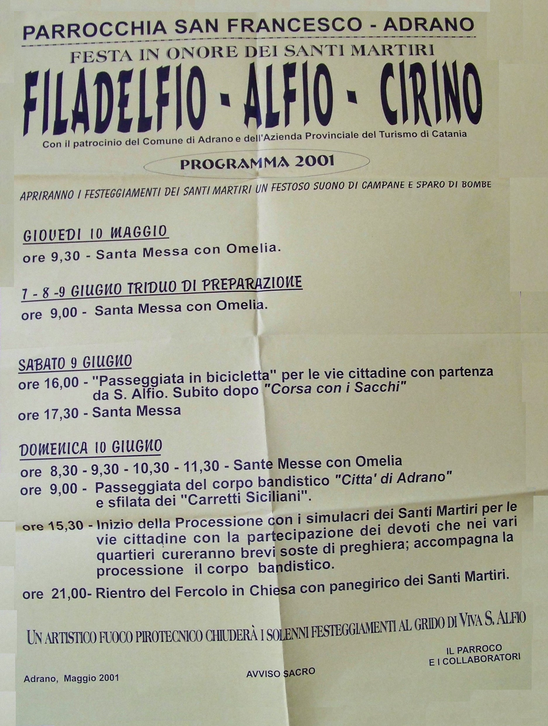 Chiesa Sant'Alfio Adrano Programma 2001