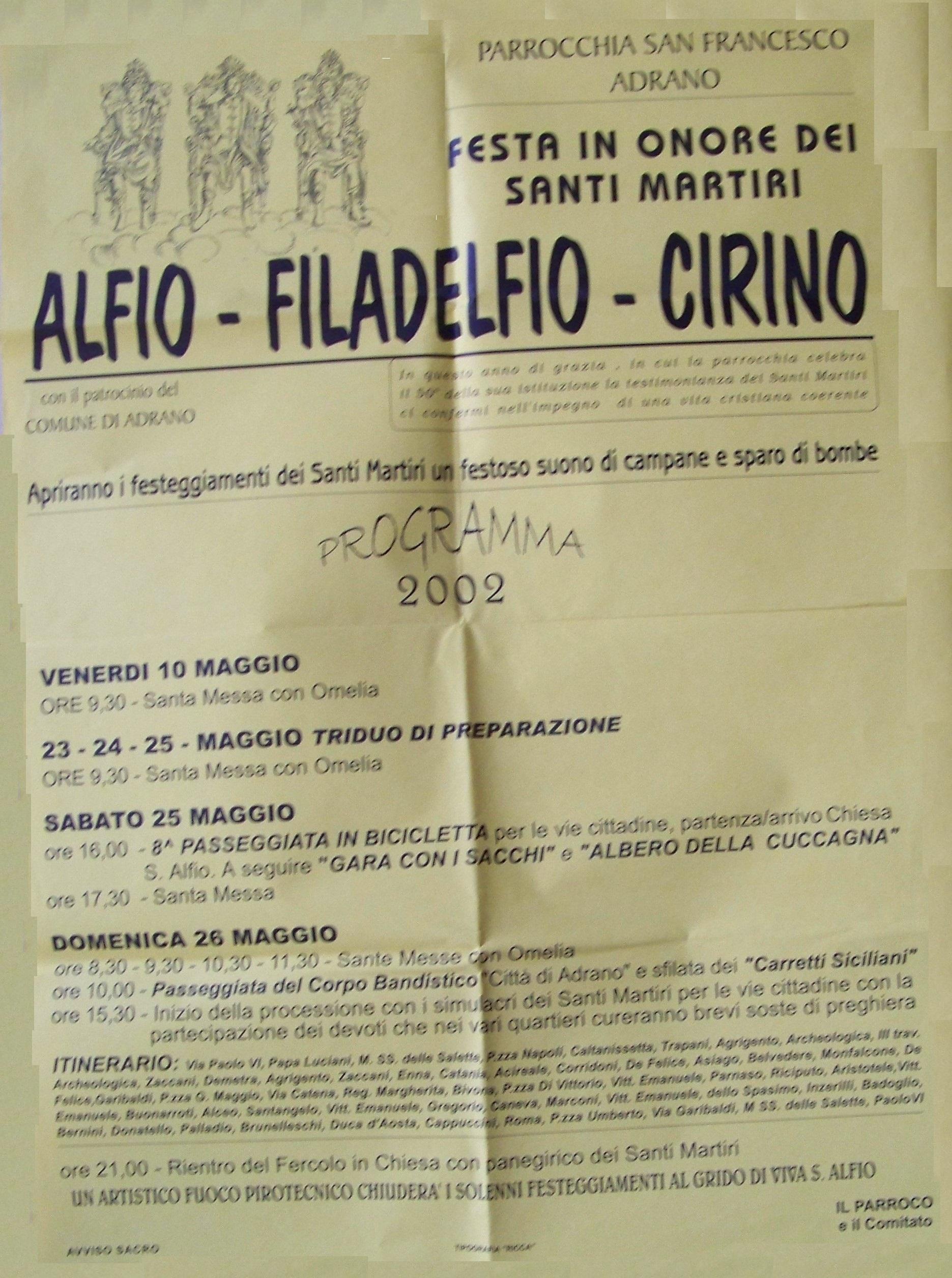 Chiesa Sant'Alfio Adrano Programma 2002