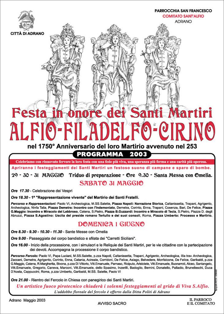 Locandina Programma 2003