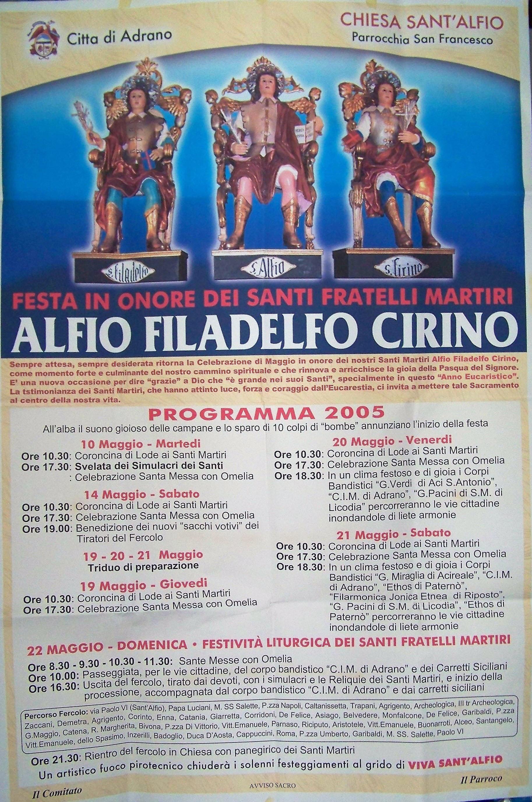 Chiesa Sant'Alfio Adrano Programma 2005