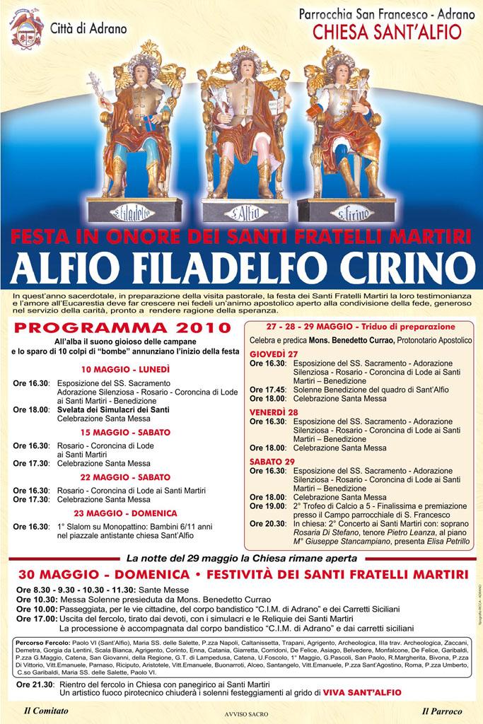 Festa Sant'Alfio 2010 Adrano Locandina Programma