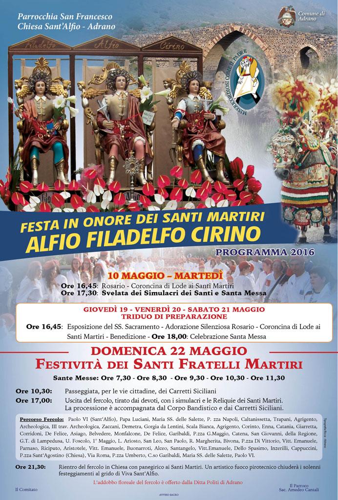Chiesa sant'Alfio Programma 2016