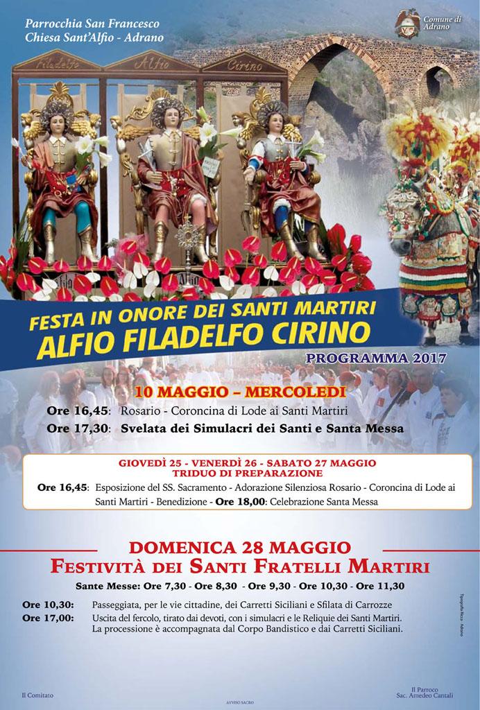 Sant'Alfio Adrano Programma 2017