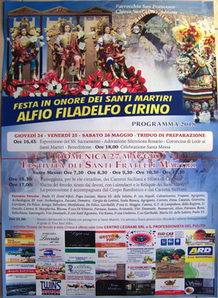 Chiesa Sant'Alfio Adrano Programma 2018_1