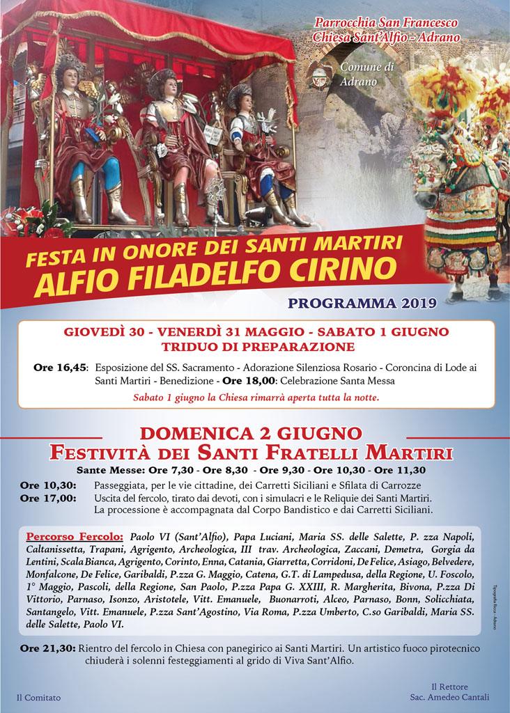 Chiesa sant'Alfio programma 2019